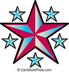 tetovál, tervezés, művészet, csillaggal díszít, csíptet