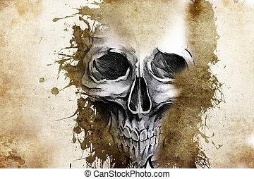 tetovál, tervezés, rossz, koponya