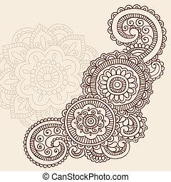tetovál, vektor, hennabokor, mehndi, doodles