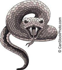 tetovál, vektor, kígyó