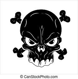 tetovál, vektor, koponya