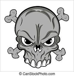 tetovál, vektor, koponya, kabala