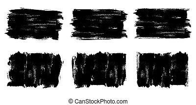 texture., transzparens, ecset, fekete, grunge, evez, festék, vector., festett, háttér, set., elnevezés