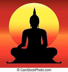 thai ember, árnykép, buddha.