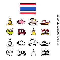 thaiföld, állhatatos, ikonok