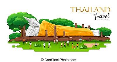thaiföld, nekitámasztó, ang, prople, utazás, inthapramun, elszigetelt, khun, szíj, buddha, tartomány, köntös, sárga