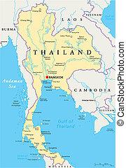 thaiföld, politikai, térkép