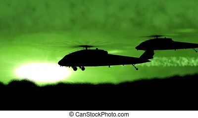 """three, fly"", helikopterek, hadi, körvonal"