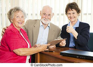 thumbsup, anyagi, -, tanács, idősebb ember