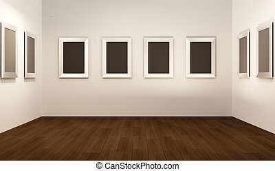 thw, showroom., üres, kilátás, interior., keret, fehér, elülső, erkély, fal