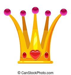 tiara, díszes, heart-shaped, ábra, elszigetelt, arany, fejtető, vektor, káró, drága, stones., hercegnő, karikatúra, mód