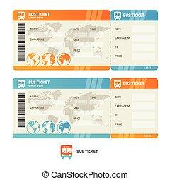 ticket., vektor, autóbusz