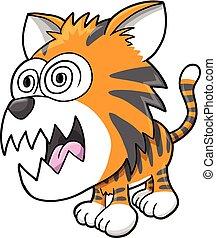 tiger, őrült, vektor, bolond