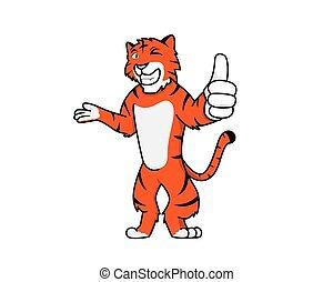 tiger, alázatosan, ajánló, barátságos, gesztus