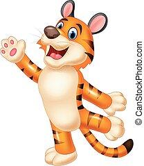 tiger, csinos, hullámzás, kéz