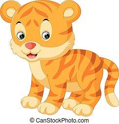 tiger, csinos, karikatúra