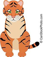 tiger, csinos, móka, karikatúra, ábra