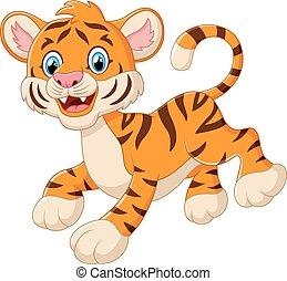 tiger, csinos, mosolygós, kölyök