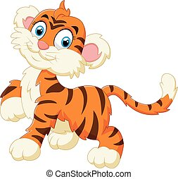 tiger, csinos, mosolygós, kölyök, félénk