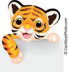 tiger, csinos, tiszta, karikatúra, aláír