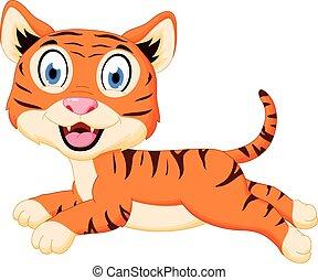 tiger, csinos, ugrás, karikatúra