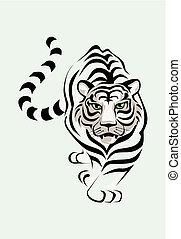 tiger, fehér, vektor, ábra, stolen.