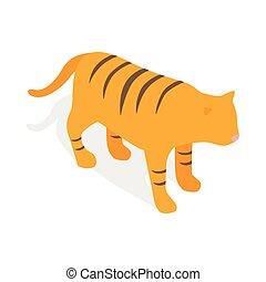 tiger, ikon, isometric, mód, 3