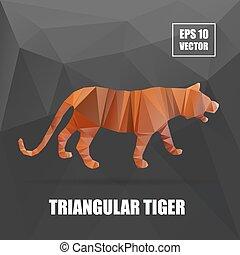 tiger, illustration., sorozat, poly, polygonal, vektor, állat, design.