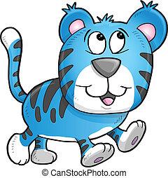 tiger, jókedvű, ábra, vektor