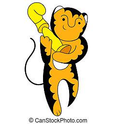 tiger, karikatúra, bajnok, diadalmas, csésze