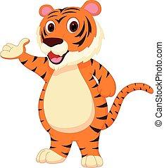 tiger, karikatúra, csinos, átnyújtás