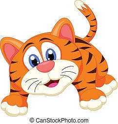 tiger, karikatúra, csinos