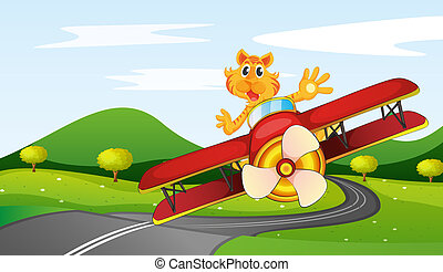 tiger, lovaglás, repülőgép