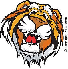tiger, mosolygós, vektor, karikatúra, kabala