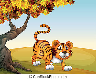 tiger, nagy, ugrás, fa helyzet
