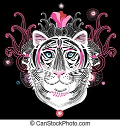 tiger, portré, fantasztikus, vektor