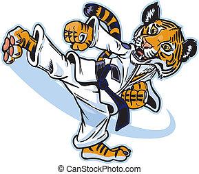 tiger, rúgás, kölyök, martial művész