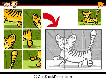 tiger, rejtvény, lombfűrész, játék, karikatúra