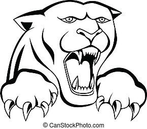 tiger, tetovál, fej
