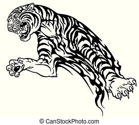 tiger, tetovál, törzsi, fekete, fehér