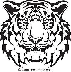 tiger, tetovál, vektor, -