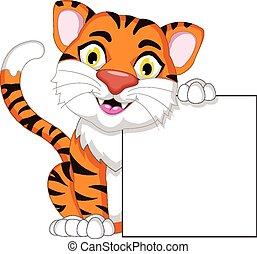 tiger, tiszta, bizottság, karikatúra