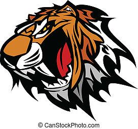 tiger, vektor, kabala, grafikus