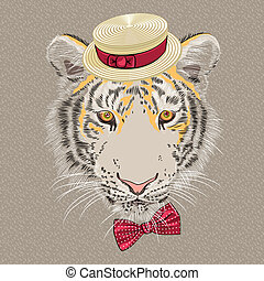 tiger, vektor, karikatúra, furcsa, csípőre szabott