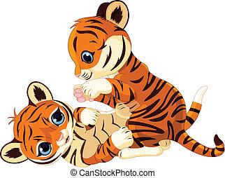 tigris cub, vidám, csinos