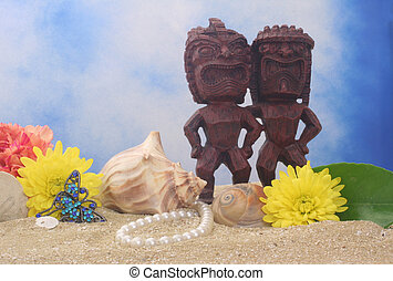 tiki, tengerpart, szobor
