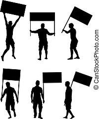 tiltakozás, emberek, tolong, silhouette.
