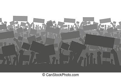 tiltakozik, zászlók, vagy, tolong, éljenzés