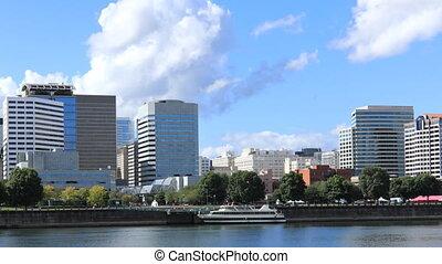 timelapse, willamette, belvárosi, portland, oregon, folyó, keresztül