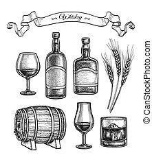 tinta, állhatatos, whiskey., skicc
